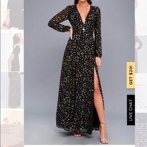 Sparks Fly Black Star Print Maxi Dress